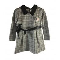 Detské šaty kárované s brošňou