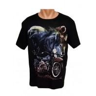 Tričko - vlk s motorkou
