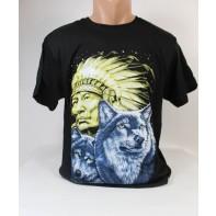 Pánske obojstranné tričko indián s vlkmi