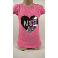 Dievčenské tričko s flitrami - srdce NO!
