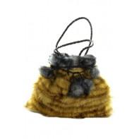 Dámska malá taška - chlpatá s brmbolcami