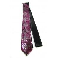 Úzka kravata - ružové flitre