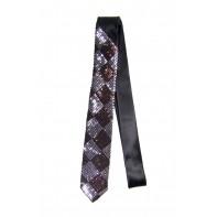 Úzka kravata - hnedé flitre