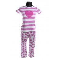 Dievčenský komplet - pyžamo srdce kráky rukáv