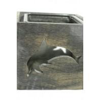 Svietnik kocka dvojdielny vyrezaný vzor delfína