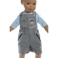 Krátke, detské nohavice - karované na traky
