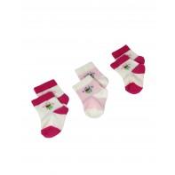 3x Detské kojenecké ponožky s kvetinkami 3ks, 0-6m, multifarebné, B21-7894