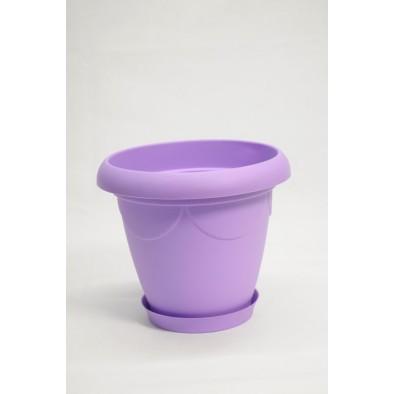 Plastový kvetináč s tanierikom – stredný, C-41-114