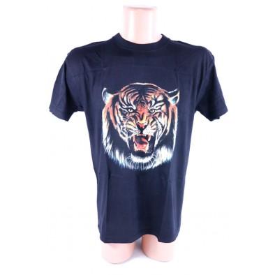Čierne bavlnené tričko vzor zúrivý tiger