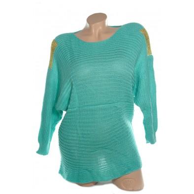 Dámsky sveter so zlatou sieťkou