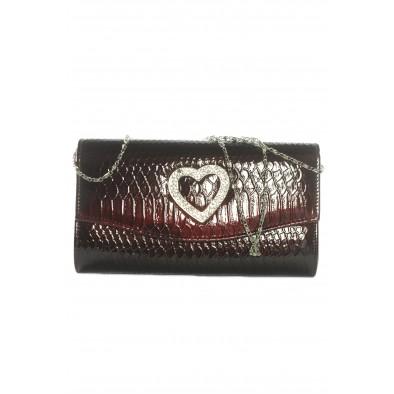 Spoločenská kabelka s krištáľovým  zdobením srdce
