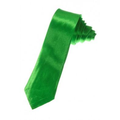 Kravata - tenká saténová - zelená