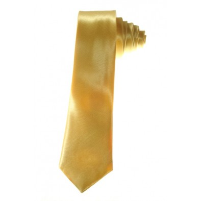Kravata - tenká saténová - zlatá