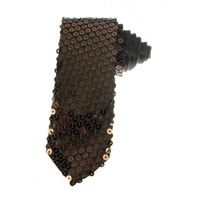 Kravata s flitrami hnedá