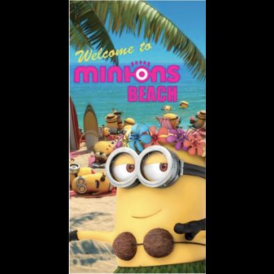 Osuška MINIONS - WELCOME TO BEACH 70x140 + uteráčik zdarma