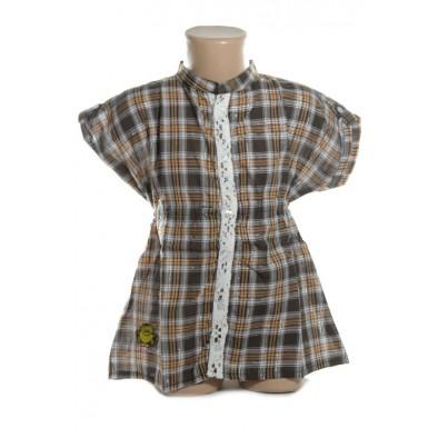 Dievčenská košeľa karo kratky rukav