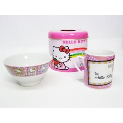 Hello Kitty set - šálka a miska v plechovke