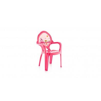 Stolička 60cm ružová - zámok a koník
