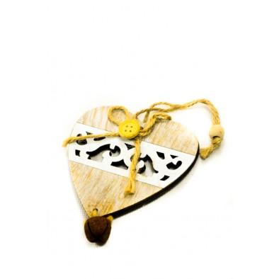 Dekorácia - drevené srdce 9 cm